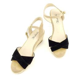 techichi Te chichi涼鞋鞋鞋女士♯23.5楔子鞋底交叉設計黑色淺駝色黄金人氣促銷[中古]T7797