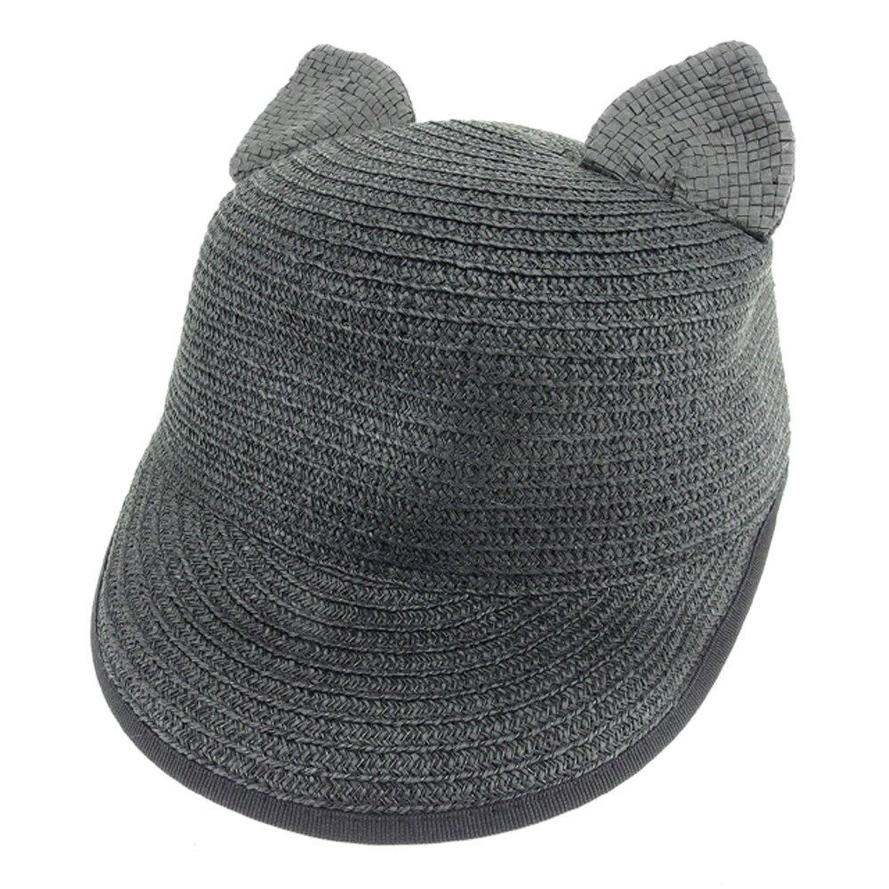 ヘレン バーマン HELENE BERMAN 帽子 ペーパー レディース ネコ耳 キャスケット ブラック ペーパーPAPER/100% 美品 セール 【中古】 T7825 .