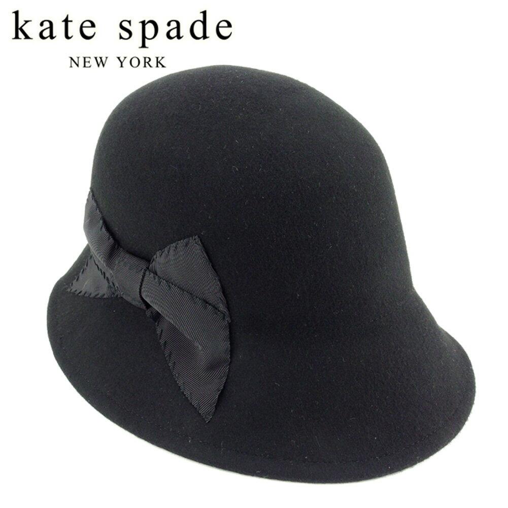 ケイト スペード kate spade 帽子 ハット レディース リボン付き クローシェ帽 ブラック ウール毛100% 美品 セール 【中古】 T7830 .
