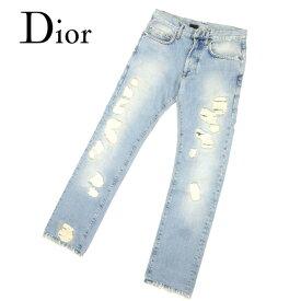 【中古】 ディオール オム Dior Homme ジーンズ ストレート パンツ ブルー ♯26サイズ クラッシュ ダメージデニム レディース メンズ 可 B950s .