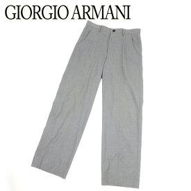 ジョルジオ アルマーニ GIORGIO ARMANI パンツ セミワイド メンズ ♯46サイズ センター切替え グレー 灰色 ブラック ウールWO/95%スパンデックスSPANDEX/5% 訳あり セール 【中古】 B971 .