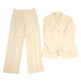 マックスマーラ Max Mara スーツ セットアップ レディース ♯USA6サイズ ジャケット パンツ テーラード ベージュ ウールWO/52%ヴィスコースVI/48% 人気 良品 【中古】 B974 .