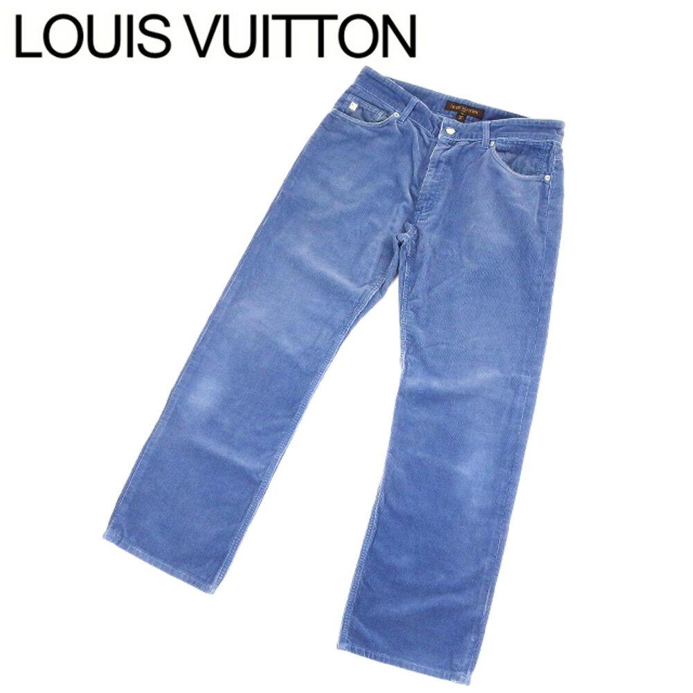 ルイ ヴィトン Louis Vuitton パンツ ストレート メンズ ♯42サイズ コーデュロイ ブルー シルバー コットン100% 人気 セール 【中古】 C3286 .