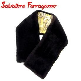 【中古】 サルヴァトーレ フェラガモ Salvatore Ferragamo マフラー レディース メンズ 可 ヒョウプリント ブラック ベージュ系 毛皮 シルクSILK 100% T7756