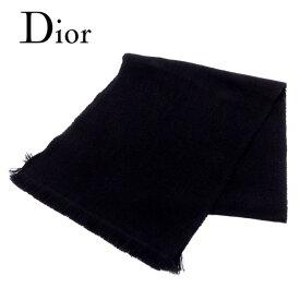 ディオール オム Dior Homme マフラー フリンジ付き メンズ DC柄 ブラック ウール100% 人気 良品 【中古】 T8007 .