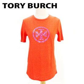 【中古】 トリーバーチ Tory Burch Tシャツ 半袖 カットソー レディース ♯XSサイズ オレンジ ピンク リネン麻100% T8163 .