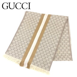 有古馳GUCCI圍巾邊緣女子的男子的可的GG花紋棕色淺駝色羊毛80%絲綢20%圍巾T8232s。