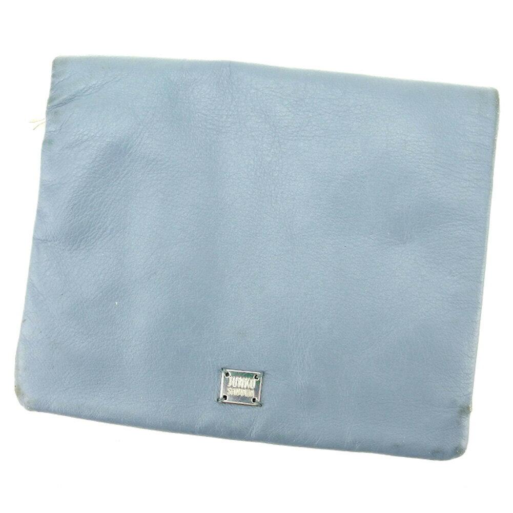 【中古】 ジュンコ シマダ JUNKO SHIMADA 二つ折り 財布 レディース ロゴプレート ブルー シルバー レザー 人気 セール C3350