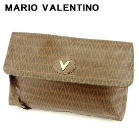 【中古】 マリオ ヴァレンティノ MARIO VALENTINO ショルダーバッグ 斜めがけショルダー バッグ レディース メンズ 可 Vプレート ブラウン ゴールド PVC 訳あり セール C3364 .