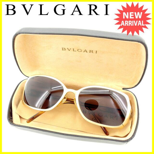 ブルガリ BVLGARI サングラス メガネ メンズ可 ゴールドフレーム ブルガリブルガリ クリアブラック×ゴールド系 プラスティック×ゴールド金具 良品 セール 【中古】 L1385