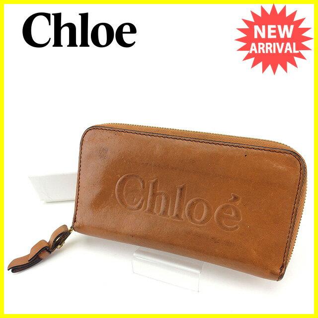 クロエ Chloe 長財布 ラウンドファスナー レディース シャドウ ブラウン×ゴールド レザー 人気 【中古】 Y7115