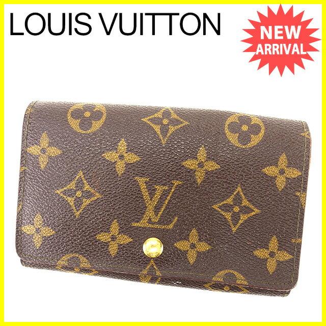 【中古】 ルイ ヴィトン Louis Vuitton L字ファスナー財布 二つ折り財布 メンズ可 ポルトモネビエトレゾール モノグラム ブラウン モノグラムキャンバス G1086