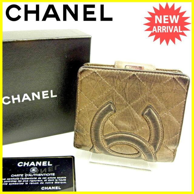 シャネル CHANEL がま口財布 二つ折り財布 レディース メンズ 可 カンボンライン ゴールド レザー 人気 セール 【中古】 Y6712