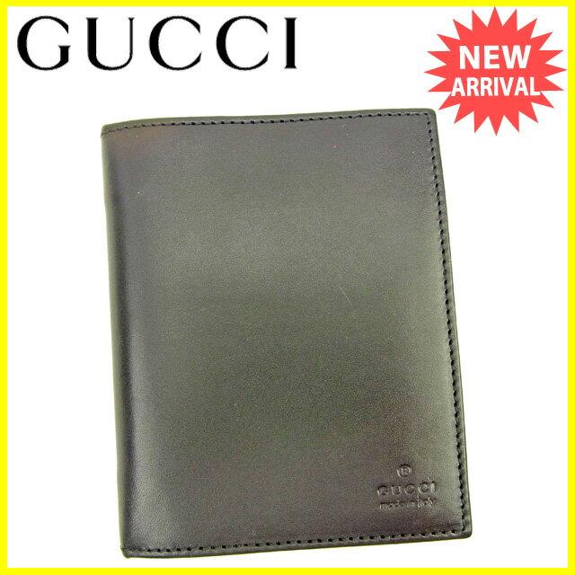 【中古】 グッチ Gucci 手帳カバー コンパクトサイズ レディース メンズ 可 ブラック レザー 美品 Y6790