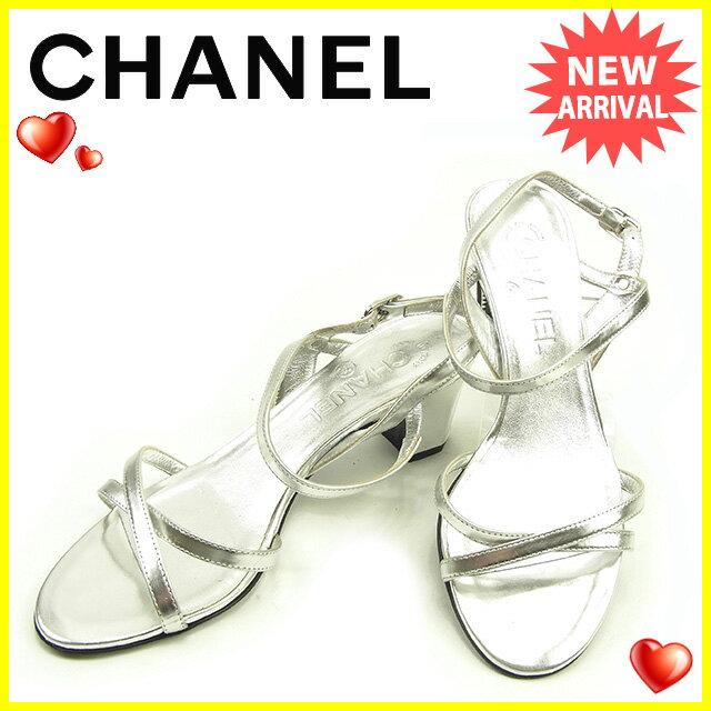 シャネル CHANEL サンダル シューズ 靴 レディース ♯35C ココマーク付き クロスデザイン シルバー レザー 美品 【中古】 Y6857