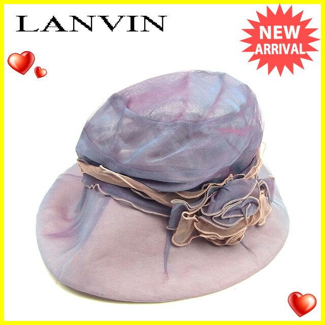 【お買い物マラソン】 【中古】 ランバン コレクション LANVIN COLLECTION 帽子 ハット レディース フラワーモチーフ パープル×ピンク系 綿100%(つば裏)綿60%絹40% 良品 Y6890 .