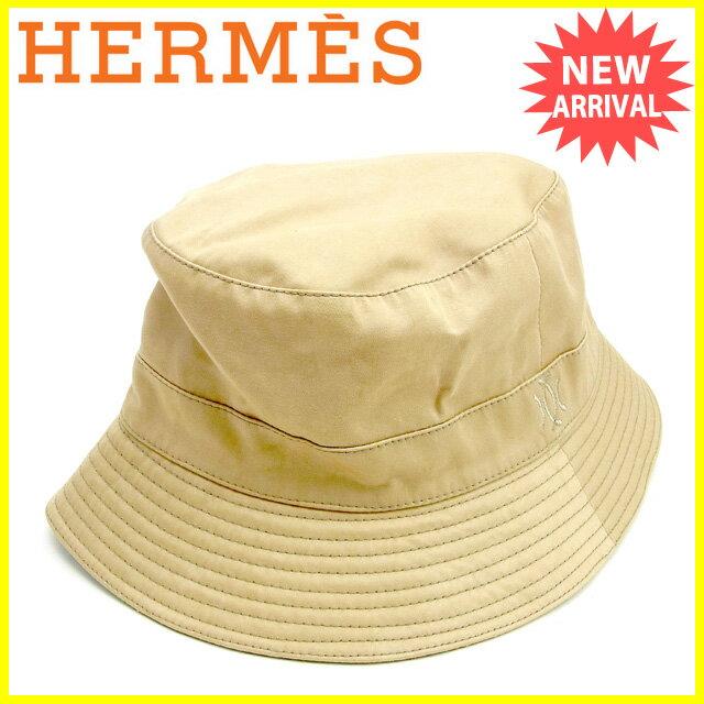 【中古】 エルメス HERMES 帽子 メンズ可 モッチ ハット ベージュ 綿60%ポリエステル30%ポリウレタン10%(裏地)アセテート10% 人気 Y7240 .