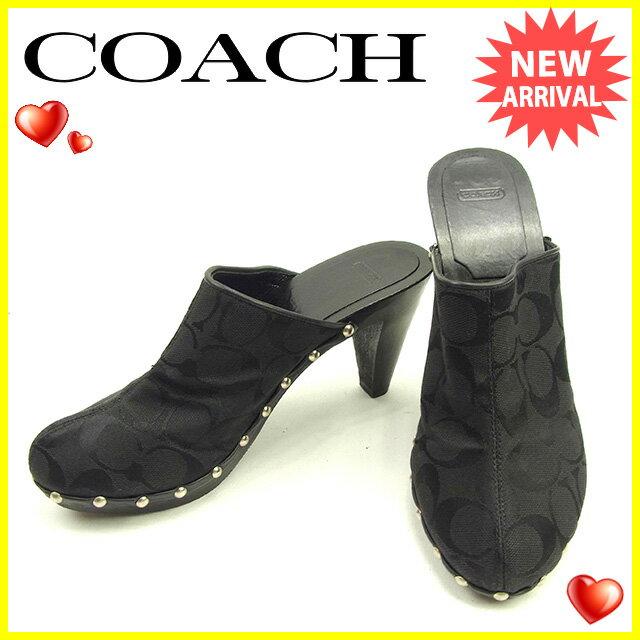 コーチ COACH サンダル シューズ 靴 レディース ♯7 サボサンダル シグネチャー ブラック×シルバー キャンバス×レザー 良品 【中古】 Y6835
