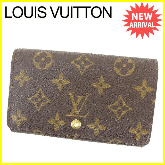 【中古】 ルイ ヴィトン LOUIS VUITTON L字ファスナー財布 二つ折り財布 レディース メンズ 可 ポルトモネ・ビエトレゾール モノグラム ブラウン系 PVC×レザ- C2789