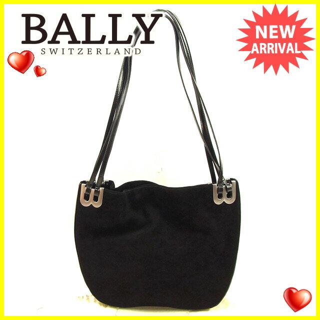 【中古】 バリー BALLY ショルダーバッグ メンズ可 Bマーク ブラック×シルバー スエード×レザー 良品 Y7027s .