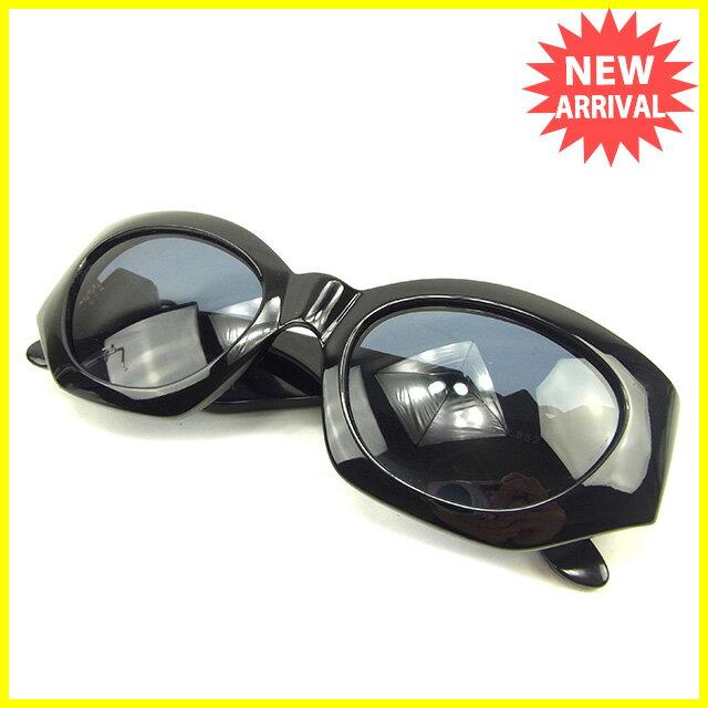 【中古】 ジャンニ ヴェルサーチ GIANNI VERSACE サングラス メガネ メンズ可 メドゥーサ付き フルリム ブラック×ブラックシルバー プラスティック 良品 Y7641