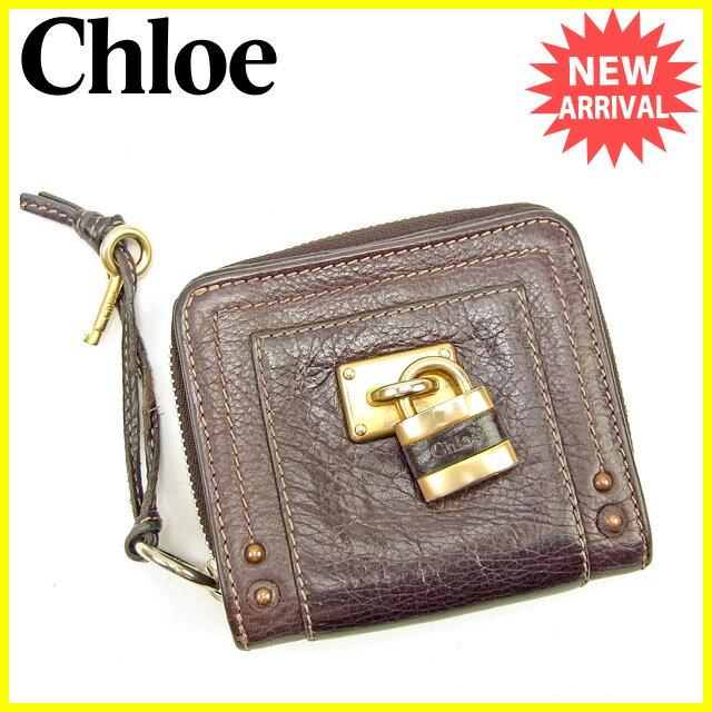 【中古】 クロエ Chloe 二つ折り財布 ラウンドファスナー メンズ可 パディントン ブラウン×ゴールド×シルバー レザー 良品 T168s .
