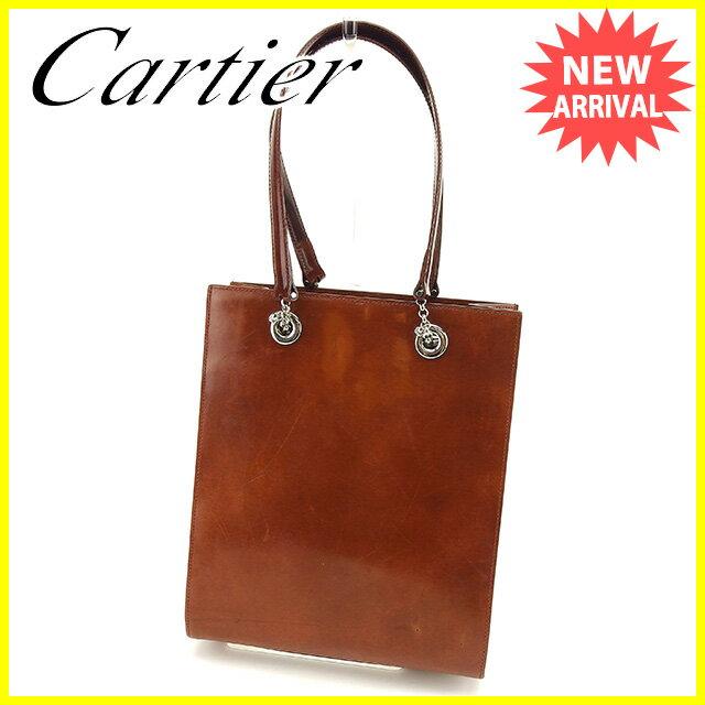 【中古】 カルティエ Cartier ハンドバッグ バック ブラウン パンサー パンテール メンズ可 T554s .