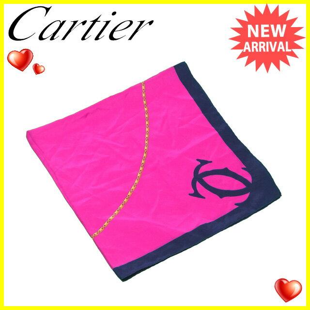 【中古】 カルティエ Cartier スカーフ 大判サイズ レディース 2Cマーク ピンク×ネイビー系 SILK/100% D1613