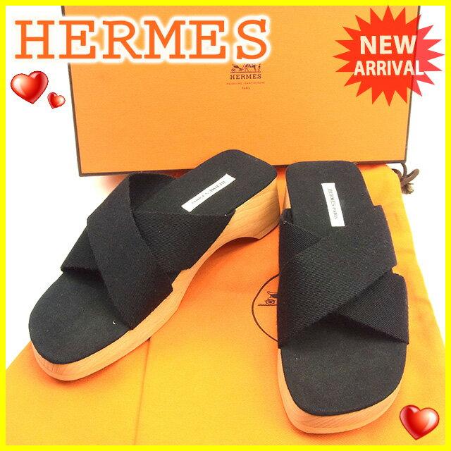【中古】 エルメス HERMES サンダル シューズ 靴 レディース ♯35 ウッドソール クロスデザイン ブラック×ナチュラル 美品 T318