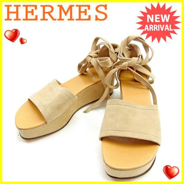 【中古】 エルメス HERMES サンダル #36 1/2 レディース ベージュ スエード 人気 良品 T957