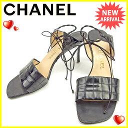 香奈爾CHANEL涼鞋#39女子的條狀巧克力糖黑色珐琅皮革人氣促銷T1002