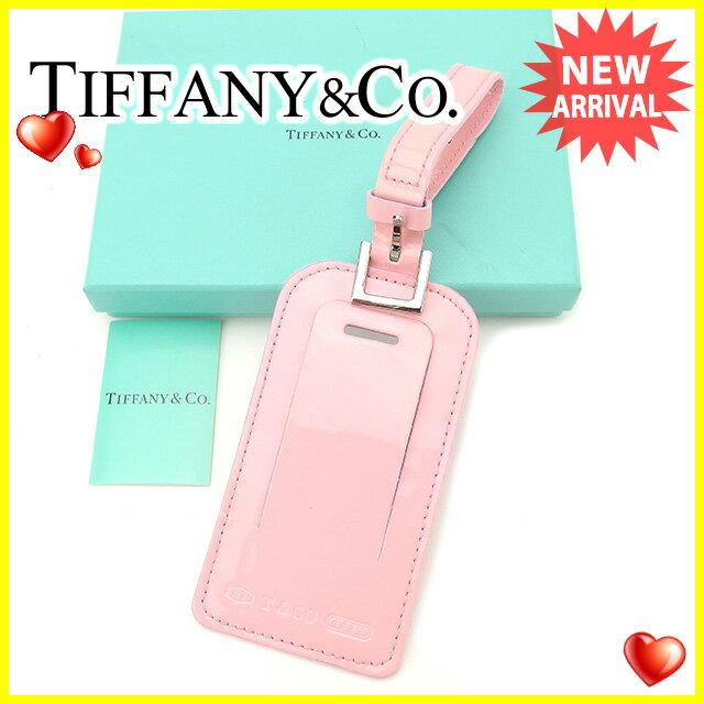 ティファニー Tiffany&Co . ネームタグ レディース ロゴ ピンク×シルバー エナメルレザー 未使用品 訳あり 【未使用】 F1215 .