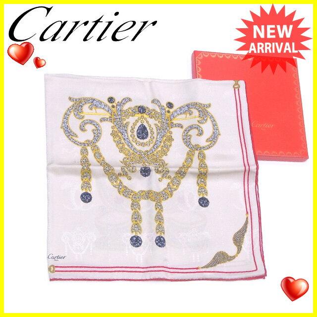 【中古】 カルティエ Cartier スカーフ 大判サイズ レディース ジュエルプリント ベージュ×レッド系 シルク100% 良品 T1552