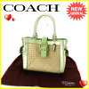 Coach COACH tote bag basket bag lady belt design 4419 natural X green X gold straw X leather (correspondence) popularity sale S353.