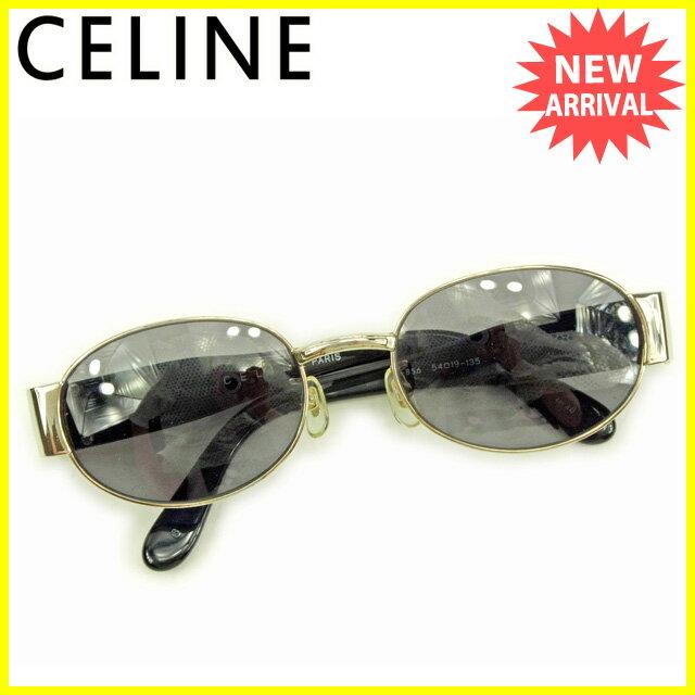 セリーヌ Celine サングラス レディース ブラック×シルバー 人気 【中古】 Y5286 .