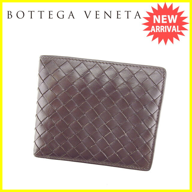 ボッテガヴェネタ BOTTEGA VENETA 二つ折り財布 イントレチャート ダークブラウン レザー 【中古】 J13367