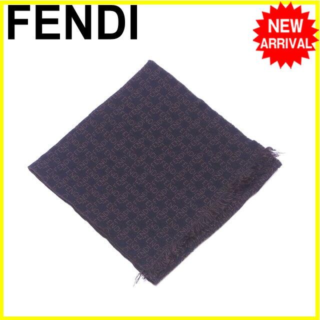 フェンディ FENDI マフラー フリンジ付き ロゴ柄 ブラック×ブラウン ウール/100% 良品 【中古】 Y5368 .
