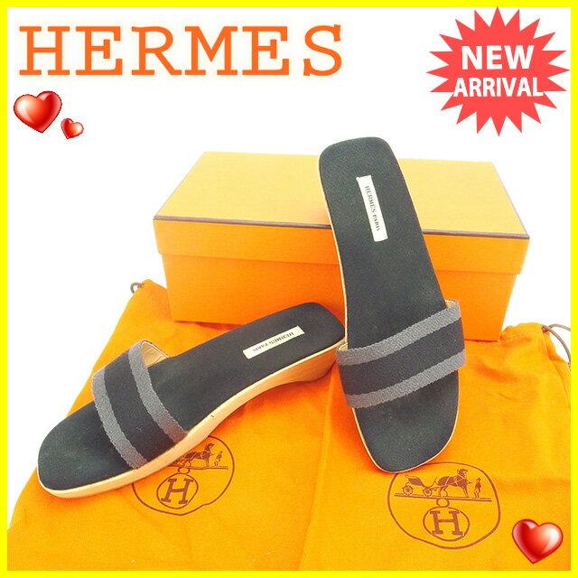 【中古】 エルメス HERMES サンダル シューズ 靴 レディース ♯37 ウッドソール フールトゥ ブラック×グレー×ナチュラル キャンバス×ウッド 人気 P228