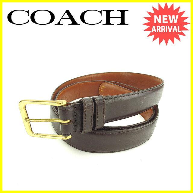 【中古】 コーチ COACH ベルト ♯42 105サイズ ブラウン×ゴールド レザー×ゴールドメッキ 人気 P267 .