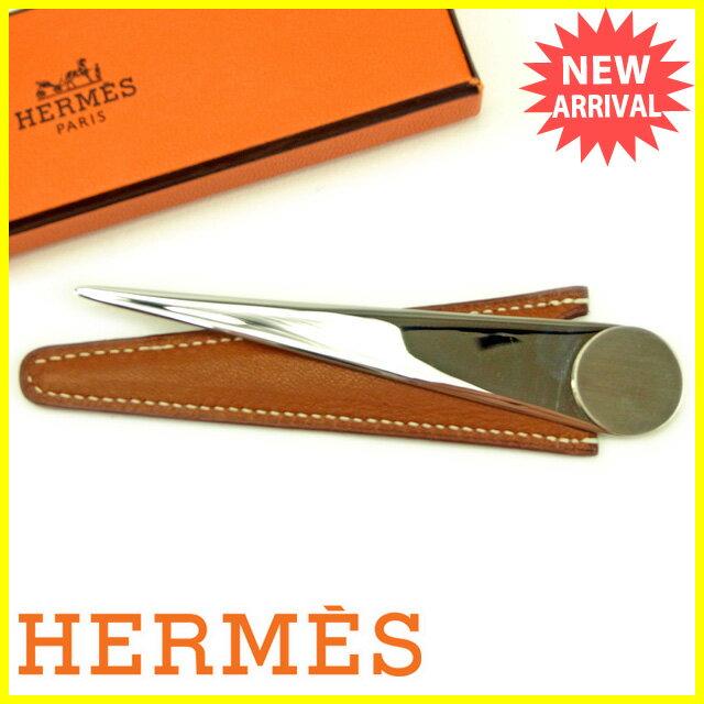 【中古】 エルメス HERMES ペーパーナイフ メンズ可 バーゼル ブラウン 良品 Y5547