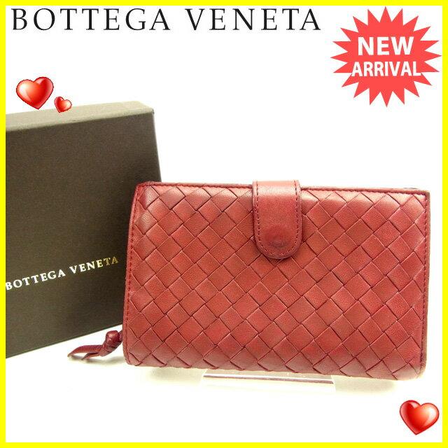 ボッテガ ヴェネタ Bottega Veneta 二つ折り財布 ラウンドファスナー メンズ可 イントレチャート ボルドー レザー 【中古】 J14289