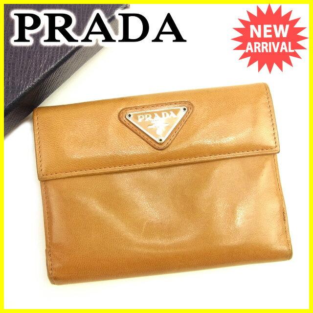 プラダ PRADA Wホック財布 二つ折り 財布 レディース トライアングルロゴ ベージュ レザー 人気 セール 【中古】 T1354