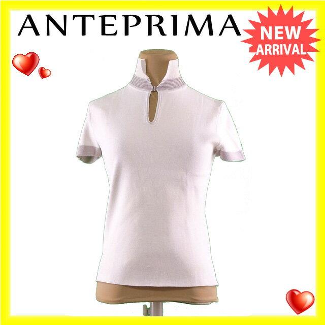 【中古】 アンテプリマ ANTEPRIMA カットソー 半袖 レディース ♯40サイズ スキッパー ホワイト×グレー レーヨン/88%ポリウレタン/12% (あす楽対応)人気 L589 .