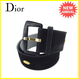 Dior Christian Dior皮帶#80女士黑色×黄金反毛皮革×黄金材料×線斯通人氣促銷Y6090。