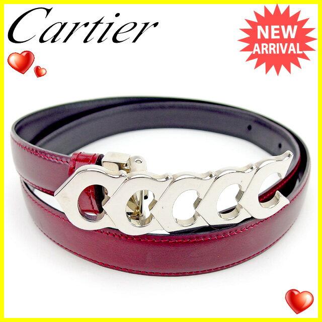 【お買い物マラソン】 【中古】 カルティエ Cartier ベルト レディース ボルドー×シルバー レザー×シルバー素材 美品 T1785