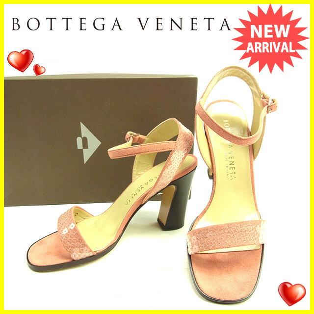 ボッテガヴェネタ BOTTEGA VENETA サンダル シューズ 靴 レディース ♯34C アンクルストラップ スパンコール クリア×ピンク×ブラウン スエード 【中古】 D1422 .