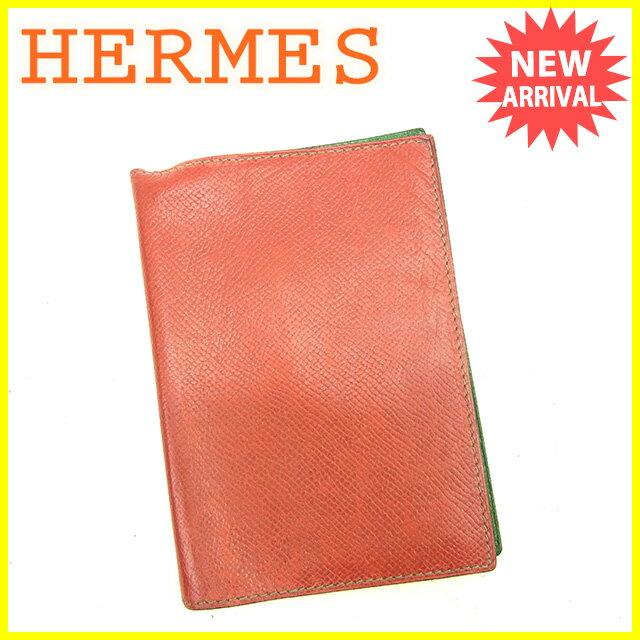 エルメス HERMES 手帳カバー メンズ可 アジェンダ ルージュ×グリーン クシュベル 【中古】 D1467