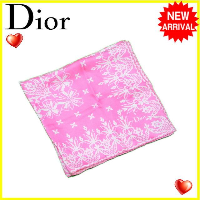 ディオール スカーフ Dior ピンク×ホワイト 【中古】 L1262s