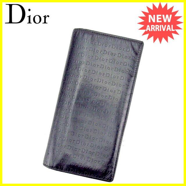 ディオール オム Dior Homme ジップ長財布 長財布 二つ折り財布 メンズ可 ブラック レザー 【中古】 C2841
