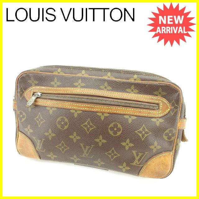 【中古】 ルイ ヴィトン LOUIS VUITTON セカンドバッグ ポーチ メンズ可 マルリードラゴンヌGM モノグラム ブラウン PVC×レザ- 人気 N497